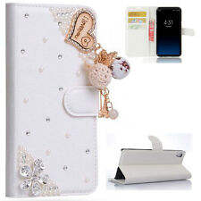 Love Heart Tassel Flowers Diamonds Flip PU leather Case Cover For Samsung