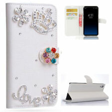 Luxury Crown Diamonds Crystal Leather wallet flip Phone Cover Case For Samsung