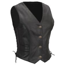 New Womens Black Leather Side-lace Motorcycle Biker Vest Braided 4 - 24