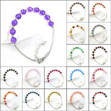 6mm natural gemstone beads adjustable bended tube bangle bracelet lobster clasp