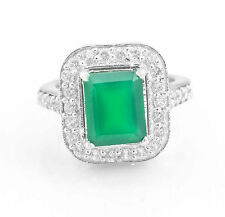 925 Sterling Silver Ring with Emerald Cut Green Onyx Natural Gemstone ebay.