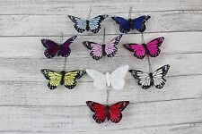 6 Large Real Feather Butterflies Butterfly 10 cm Wedding Bright Colour