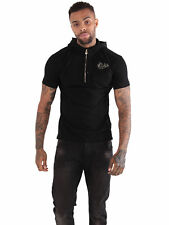 883 Police Mens Lochte Black Hoody Polo Cotton Zip Shirt Collared Short Sleeve