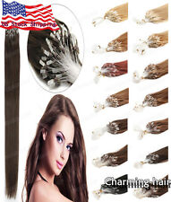"Easy Micro Rings Bead Loop Tip Remy Human Hair Extensions 16"" 18"" 20"" 0.5g/s USA"