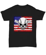 Skull and baseball crossbones American flag t-shirt - Unisex Tee