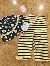 NWT GYMBOREE Girls 3-6 Months Cute As Can Bee 2 Piece Set Pants and Sun Hat NWT