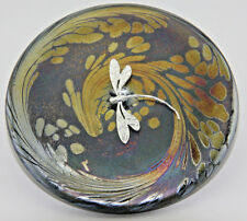 Neo Art Glass disk paperweight sterling silver butterfly,fairy,frog,by K.Heaton
