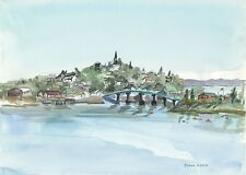 Lubec, Maine Coast. Down East view from Campobello Island. Watercolor Art Prints