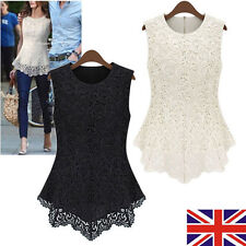 UK Womens Sleeveless Embroidery Lace Tops Chiffon T Shirt Ladies Fashion Blouse