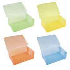 Stackable Storage Box Thick Boot Shoe Organizer Transparent Plastic Foldable RB