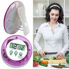 Mini Round LCD Digital Cooking Home Kitchen Countdown UP Timer Alarm Food CloRB