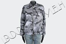 VALENTINO 2590$ Auth New Gray & Black Camouflage Pattern Bomber Down Jacket