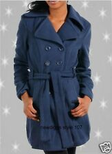 Navy Blue Double Breasted Long Peacoat Jacket with Belt Misses size S M L XL