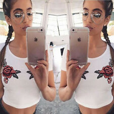 Summer Women Stylish Loose Bare midriff Sleeve embroideried T-Shirt Blouse Top