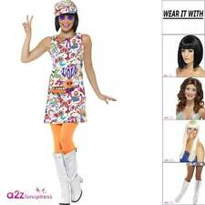 Womens 60s 60's Groovy Chick Adult Ladies GoGo Retro Sixties Fancy Dress Costume