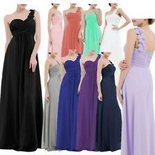 Women's Chiffon One Shoulder Bridesmaid Maxi Evening Party Long Ball Gown Dress