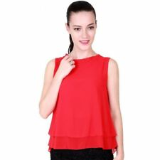 Women Summer Tops Sleeveless Loose Ruffle Shirt Fashion Chiffon Blouses