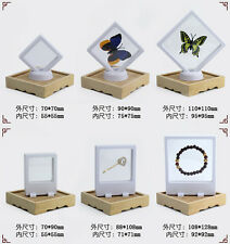 Fashion Clear Jewelry Suspended Coin Floating Display Case Stand Holder Box