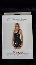 Sharon Sloane Rubber Latex collection Black Mini Dress Shiny Wet Look NEW