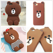 3D Cute Cartoon Brown Bear For Cell Phone Silicone Rubber Soft Case Cover Skin