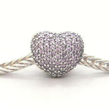 Genuine Authentic S925 Sterling Silver Pavé Open My Heart Pink CZ Clip Charm