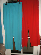 NEW LADIES SUMMER CREPE EFFECT TROUSERS SIZES 12 to 30 RED OR TURQUOISE £4.39