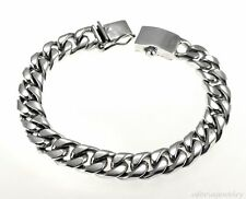 TAXCO HEAVY CUBAN LINK BRACELET 10MM SOLID 925 MEXICO STERLING SILVER