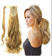Wavy Human Hair Extension comb Clip in high pony tail wrap around clip pony tail