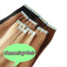 8ASeamless Tape in Skin Weft Indian Remy Human Hair Extensions Straight 20/40pcs