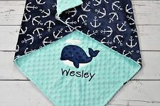 Handmade Personalized Anchor Whale Nautical Minky Baby Stroller crib Blanket