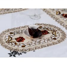 1/4PCS Embroidered Peony Cutwork Table Placemats Lace Oval Doily Mat Party Decor