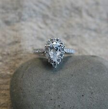 925 Sterling Silver 1.2 ct CZ Pear Shaped Halo Engagement Ring SE02