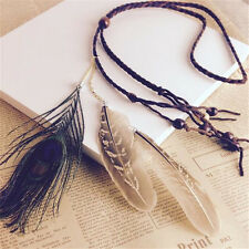 Vintage Rope Knitted Hairband Bohemian Hippie Headband Peacock Feather Hair Band