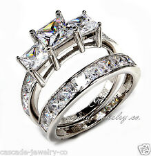 2pc set 3 stone Princess SOLID Sterling Silver & CZ Wedding / Engagement RING