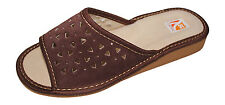New Womens Leather Comfortable Open Toe Slip On Slippers House Shoes UK 4 - 7.5