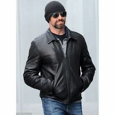New Mens Hugh Jackman Black Biker Motorcycle Bomber Real Soft Leather Jacket