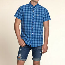 Hollister by Abercrombie  Fitch!New Mens Blue White Short Sleeve Plaid Shirt-MED