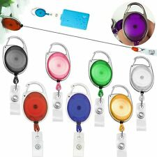LOT 5~50 Translucent Retractable ID Badge Belt Clip Holder Key Card Chain Reels