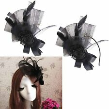 Lady Feather Headpiece Floral Fascinator Hat Party Hair Clip Accessory Headdress