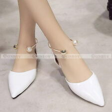 Womens Ankle Cuff Pearl Comfort Slip On Fashion Suede Ballet Flat Loafers Shoes