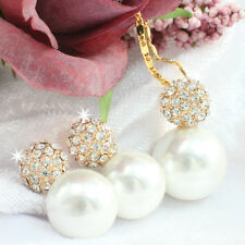 White Pearl Set Necklace/Earrings 18k Gold Filled Crystal, Gift Box