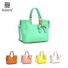 New Women Leather Handbag Structured Tote Bag Satchel Bow Top Handle Large Purse