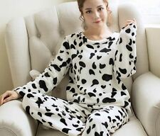 Women Girl Ladies Long Sleeve Velvet Fleece Pajamas Set Pyjamas Sleepwear Lounge