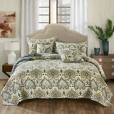 Tache Bohemian Green Blue Spades Quilted Reversible Coverlet Bedspread Quilt Set