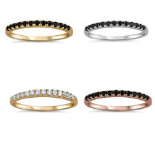 Stackable Yellow,Rose,Silver Channel set Wedding Band 925 Sterling Silver Ring