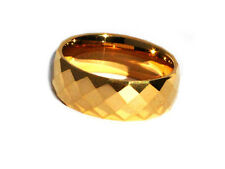 Tungsten Carbide 8 mm 24K Gold Plated Multi-faceted Band Ring Brand New