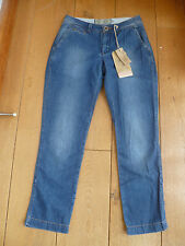 FAT FACE WASHED MID BLUE CHAMBRAY CROPPED CHINO CAPRI TROUSERS JEANS UK 6 XXS