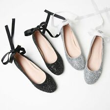 Sexy Women's Flat Heel Round Toe Glitter Sequins Lace-up Ballet shoes Pump Shoes