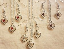 Silver Plated Heart Charm Pendant Necklace and Earrings Coloured Gems + Gift Bag
