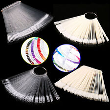 50Pcs Nail Art False Tips Sticks Polish Practice Display Fan Board Design ToolBE